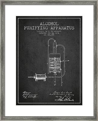 1874 Alcohol Purifying Apparatus Patent Fb77_cg Framed Print by Aged Pixel