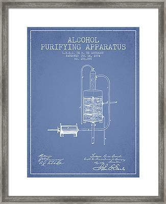 1874 Alcohol Purifying Apparatus Patent Fb77_lb Framed Print by Aged Pixel
