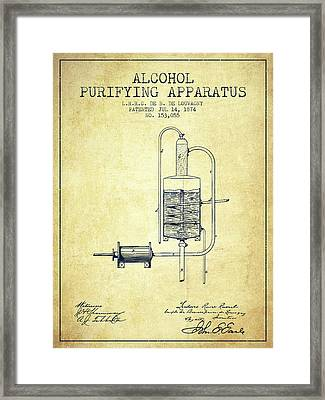 1874 Alcohol Purifying Apparatus Patent Fb77_vn Framed Print by Aged Pixel