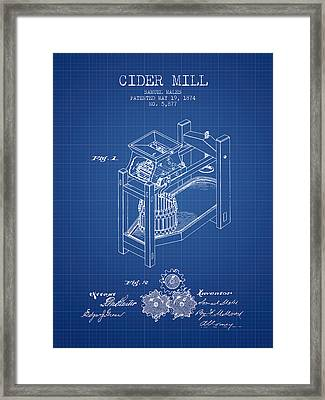 1874 Cider Mill Patent - Blueprint 02 Framed Print by Aged Pixel