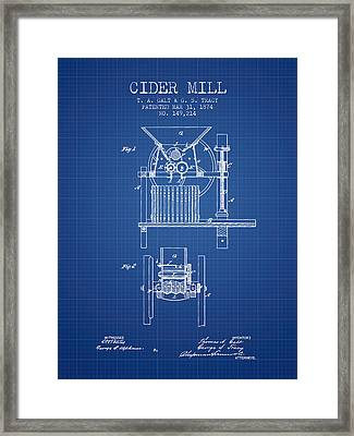 1874 Cider Mill Patent - Blueprint Framed Print by Aged Pixel