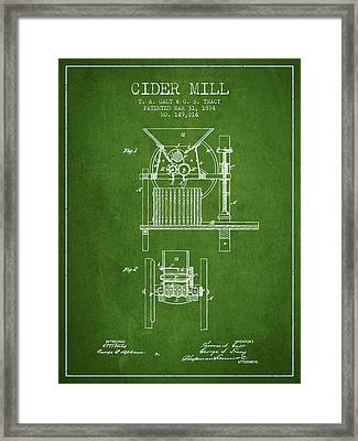 1874 Cider Mill Patent - Green Framed Print by Aged Pixel