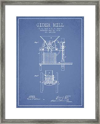1874 Cider Mill Patent - Light Blue Framed Print by Aged Pixel