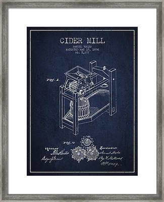 1874 Cider Mill Patent - Navy Blue 02 Framed Print by Aged Pixel
