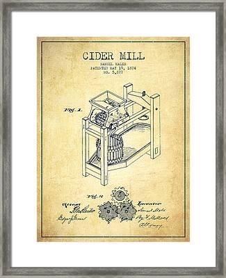 1874 Cider Mill Patent - Vintage 02 Framed Print