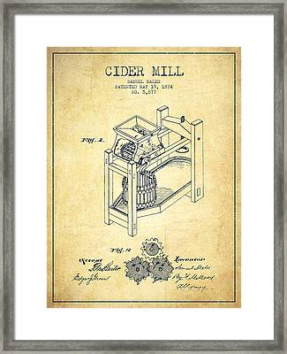 1874 Cider Mill Patent - Vintage 02 Framed Print by Aged Pixel