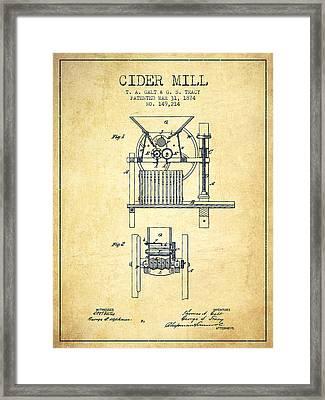 1874 Cider Mill Patent - Vintage Framed Print by Aged Pixel
