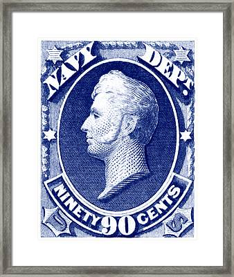 Framed Print featuring the painting 1875 Commodore Perry Us Navy Department Stamp by Historic Image