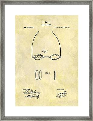 1875 Eyeglass Patent Framed Print by Dan Sproul
