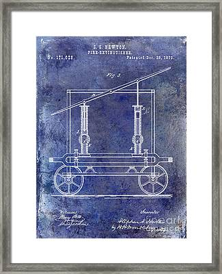 1875 Fire Extinguisher Patent Blue Framed Print by Jon Neidert