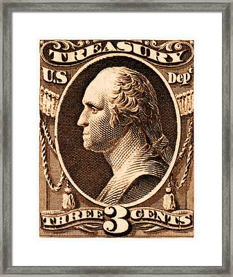 Framed Print featuring the painting 1875 George Washington Treasury Department Stamp by Historic Image