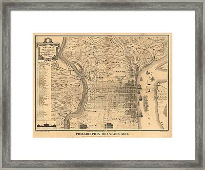 1875 Philadelphia Map Framed Print by Dan Sproul
