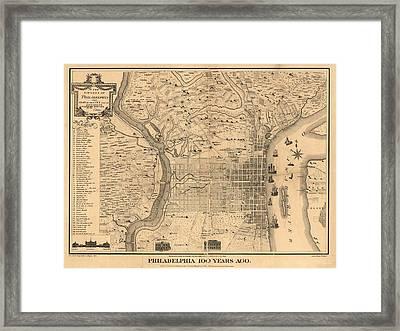 1875 Philadelphia Map Framed Print