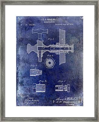 1876 Beer Faucet Patent Blue Framed Print