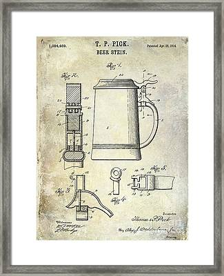 1876 Beer Faucet Patent Drawing Framed Print by Jon Neidert