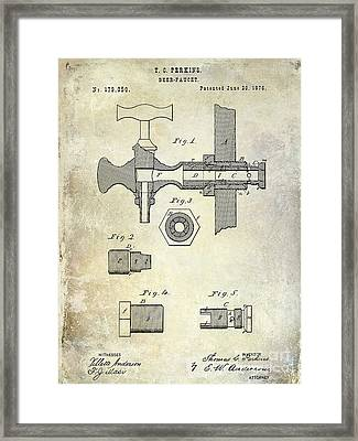 1876 Beer Faucet Patent Framed Print
