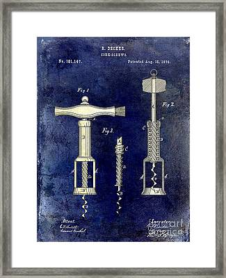 1876 Corkscrew Patent Drawing 2 Tone Blue Framed Print