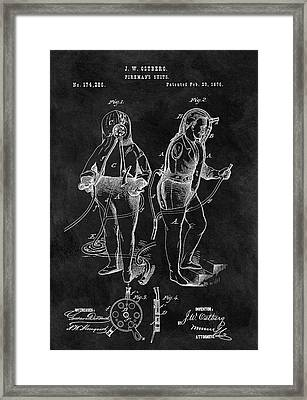 1876 Fireman Suit Patent Framed Print