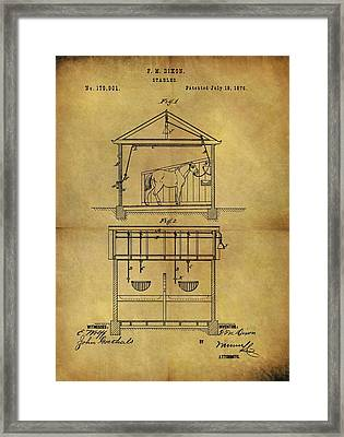 1876 Horse Stable Patent Framed Print