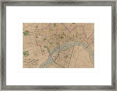 Reproduction 1876 Map Of Richmond Virginia Framed Print by Christopher Kerby