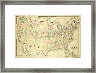 1876 Map Of The United States Color Framed Print by Toby McGuire