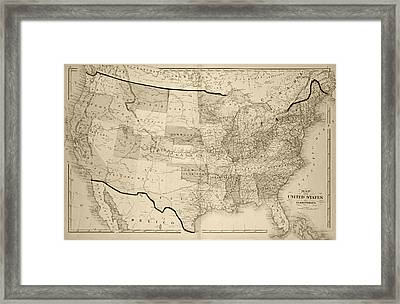 1876 Map Of The United States Sepia Framed Print by Toby McGuire