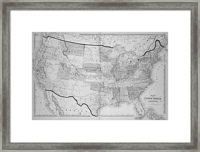 1876 Map Of The United States Framed Print by Toby McGuire