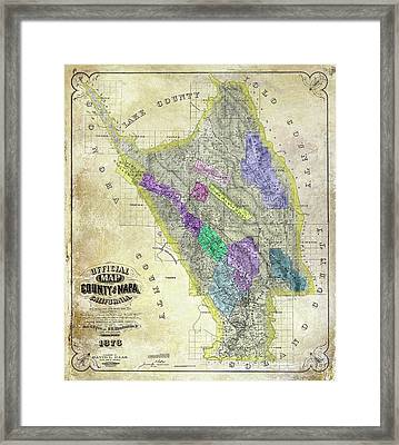 1876 Napa Valley Map Framed Print by Jon Neidert