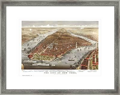1876 New York City Map Framed Print