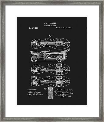 1876 Roller Skates Patent Framed Print by Dan Sproul