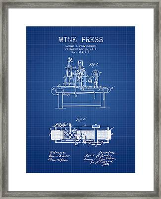 1876 Wine Press Patent - Blueprint Framed Print by Aged Pixel
