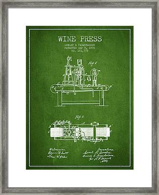 1876 Wine Press Patent - Green Framed Print by Aged Pixel