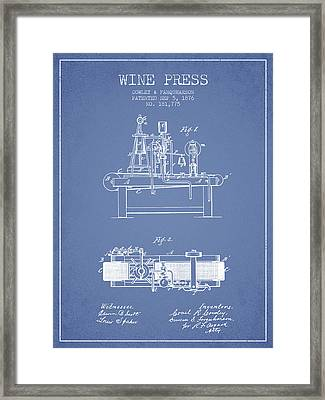 1876 Wine Press Patent - Light Blue Framed Print by Aged Pixel