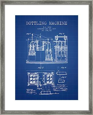 1877 Bottling Machine Patent - Blueprint Framed Print