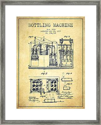 1877 Bottling Machine Patent - Vintage Framed Print by Aged Pixel