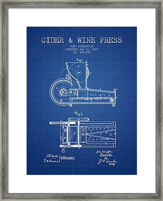 1877 Cider And Wine Press Patent - Blueprint Framed Print by Aged Pixel