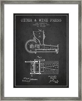 1877 Cider And Wine Press Patent - Charcoal Framed Print by Aged Pixel