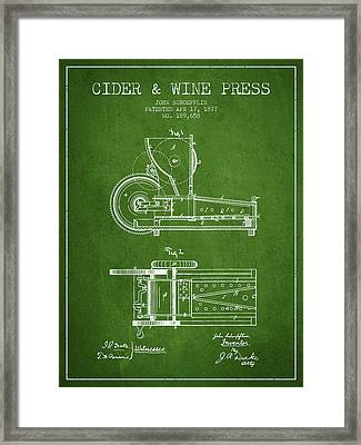 1877 Cider And Wine Press Patent - Green Framed Print by Aged Pixel