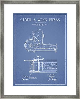 1877 Cider And Wine Press Patent - Light Blue Framed Print by Aged Pixel