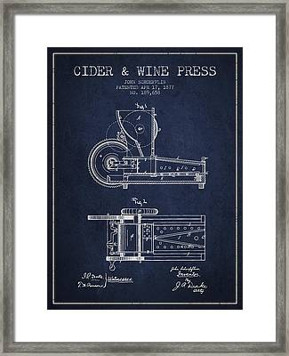 1877 Cider And Wine Press Patent - Navy Blue Framed Print by Aged Pixel