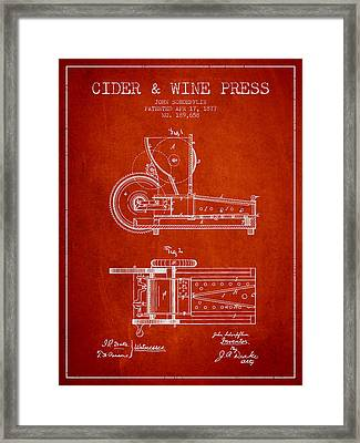 1877 Cider And Wine Press Patent - Red Framed Print by Aged Pixel