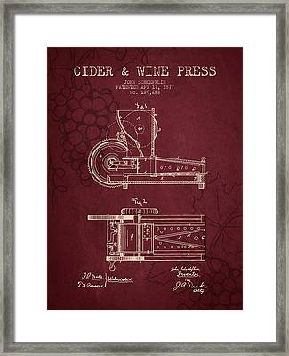 1877 Cider And Wine Press Patent - Red Wine Framed Print by Aged Pixel