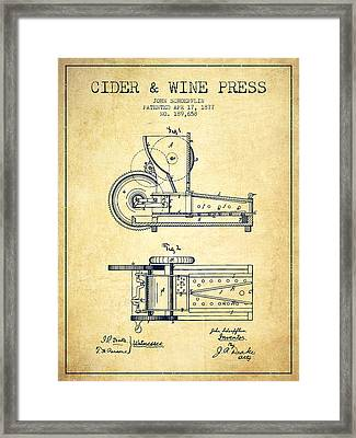 1877 Cider And Wine Press Patent - Vintage Framed Print by Aged Pixel