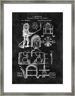 1877 Firefighter's Helmet Patent Framed Print by Dan Sproul