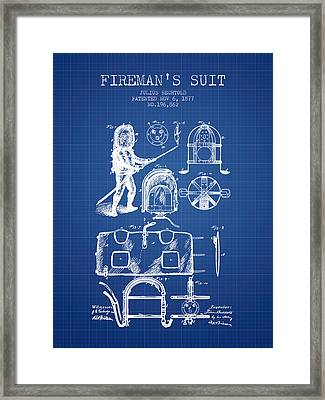 1877 Firemans Suit Patent - Blueprint Framed Print by Aged Pixel