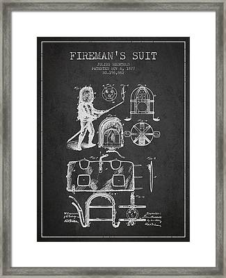 1877 Firemans Suit Patent - Charcoal Framed Print by Aged Pixel