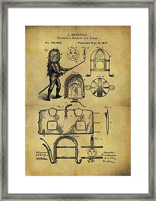 1877 Fireman's Suit Patent Framed Print by Dan Sproul