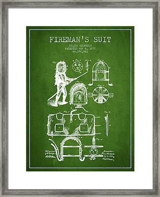 1877 Firemans Suit Patent - Green Framed Print by Aged Pixel