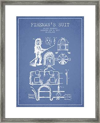 1877 Firemans Suit Patent - Light Blue Framed Print by Aged Pixel