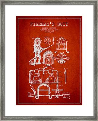 1877 Firemans Suit Patent - Red Framed Print by Aged Pixel